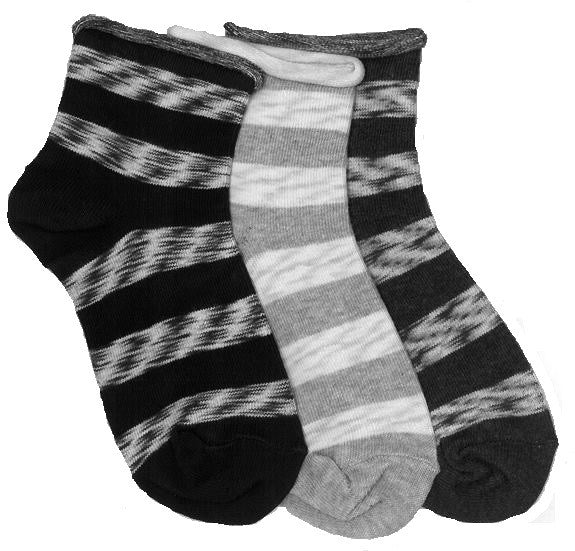 3-Pack Big Girls Roll Top Space Dye Stripe Socks (Black/Grey Heather/Denim Heather)