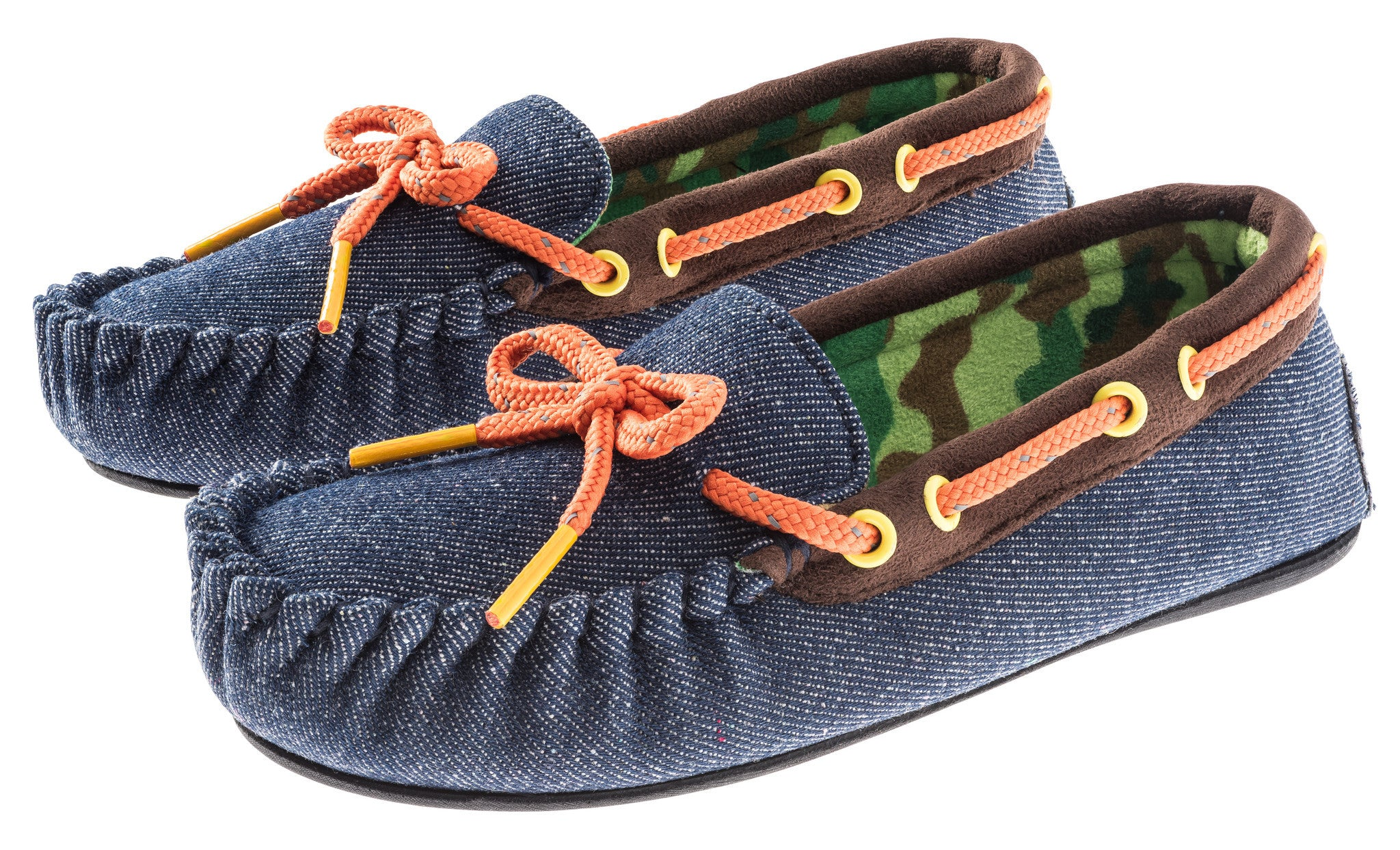Boys Denim with Camo Lining Moccasin Shoe