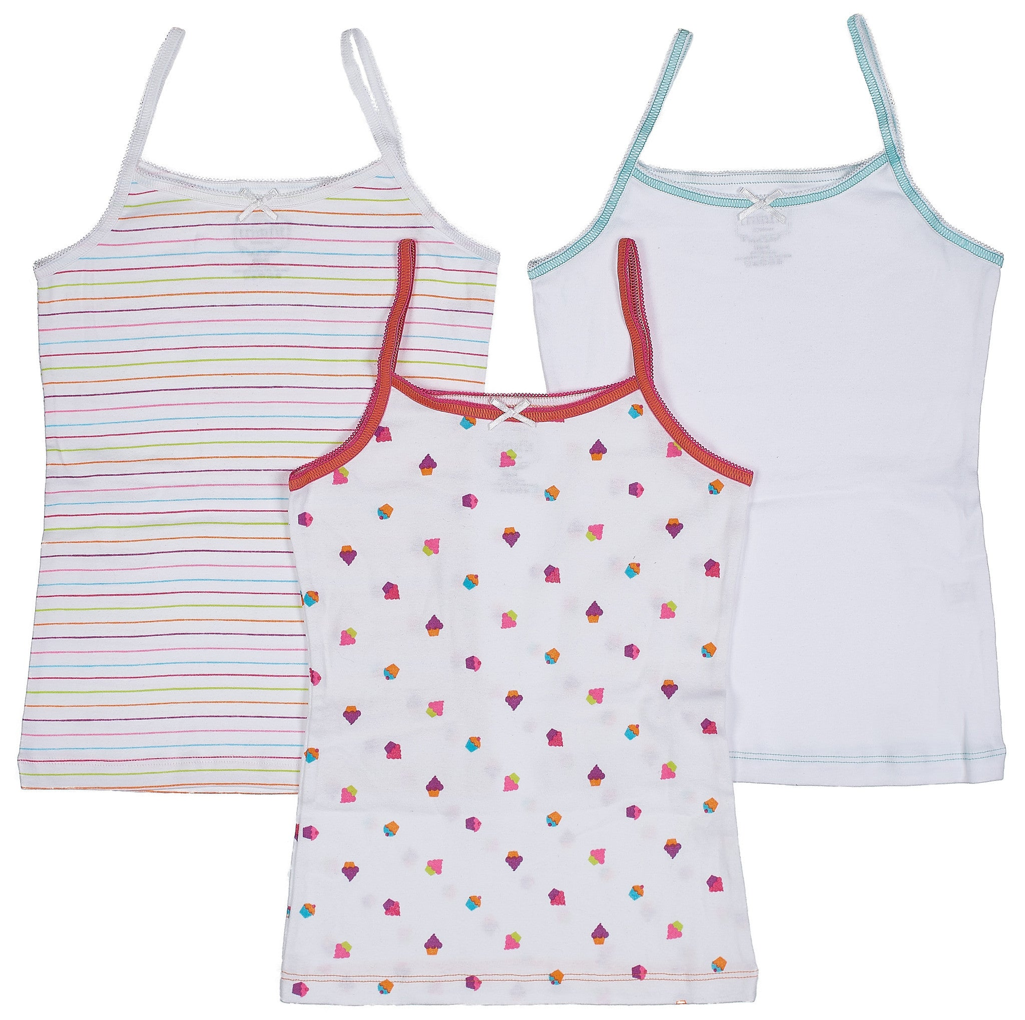 3-Pack Yummy Cupcakes Camisole Undershirt 100% Cotton Fashion Prints