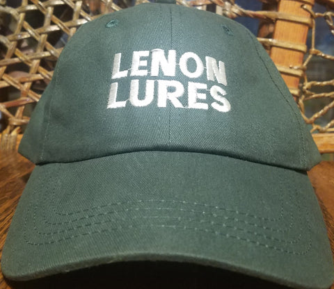"Lenon Lures Hat Embroidered Forest Green ""Serving Trappers Since 1924"""