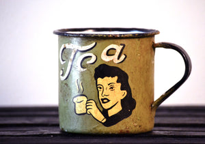 Retro Metal Tin Coffee Mug - Olive Green
