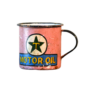Retro Metal Tin Coffee Mug - Pink Motor Oil