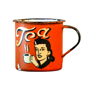 Retro Metal Tin Coffee Mug - Orange