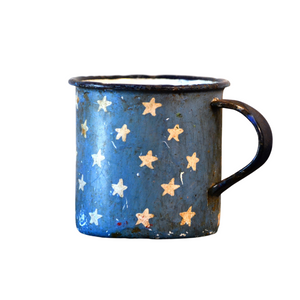 Retro Metal Tin Coffee Mug - Stars