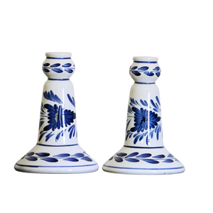 Blue and White Ceramic - Candle Holder Set