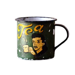 Retro Metal Tin Coffee Mug - Dark Green
