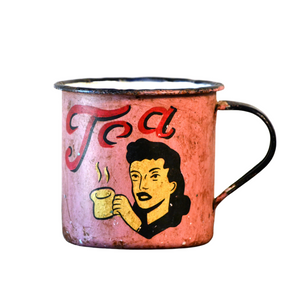 Retro Metal Tin Coffee Mug - Pink