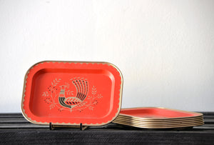 Retro Red Peacock Tray Set