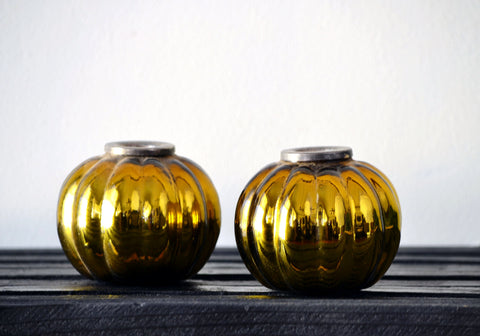 Round Glass Candlestick Set