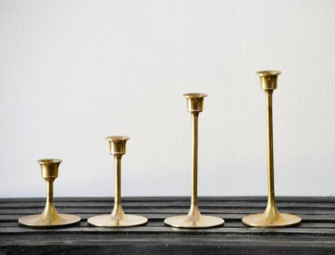 Skinny Brass Taper Candlestick Se of 4