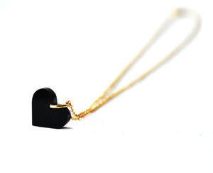 Black Acrylic Heart Necklace