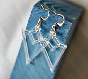 Triangle Cut Dangle Earrings - Clear Acrylic