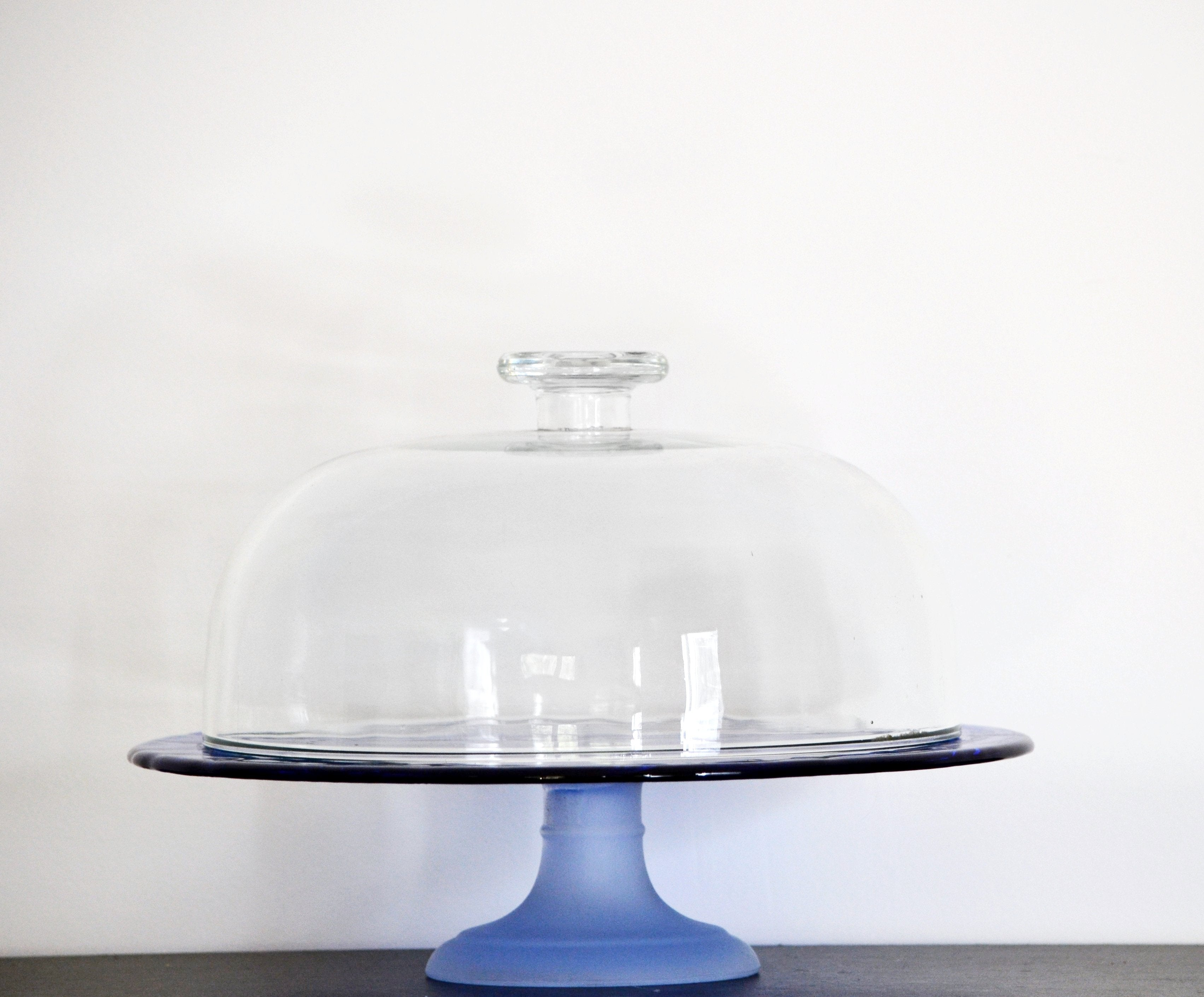 Colbalt Cake Stand and Glass Dome
