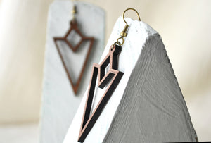 Triangle Wood Cut Dangle Earrings - Walnut