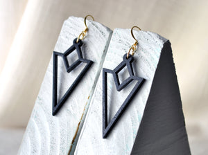 Triangle Wood Cut Dangle Earrings - Black
