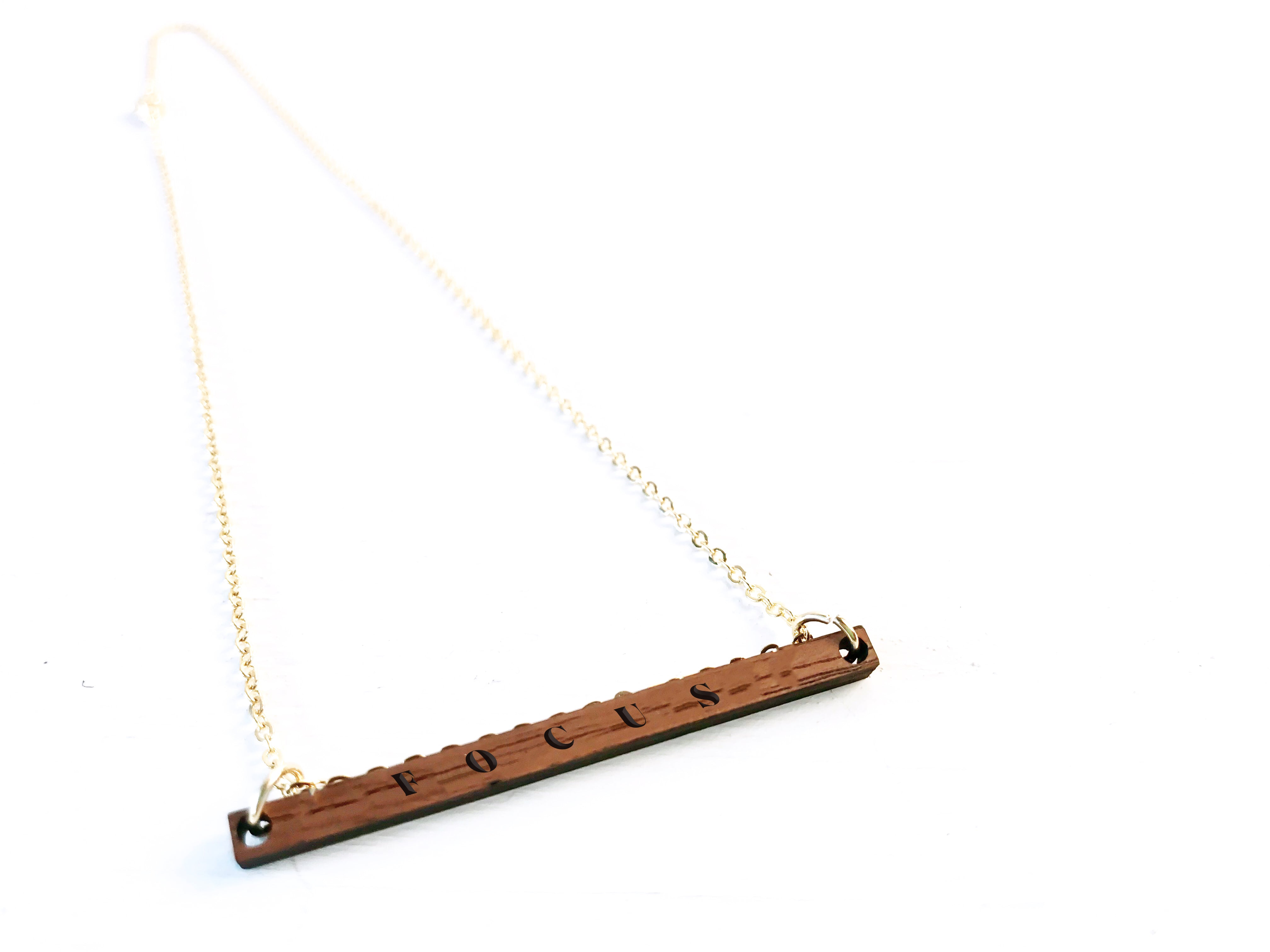 """Focus"" Engraved Bar Necklace - Wood"