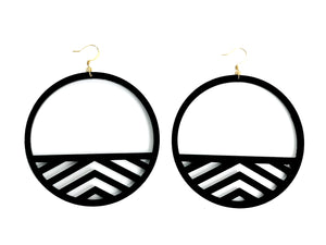 Black Acrylic Rhen.O Hoop Earrings - Large