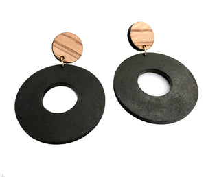 Double Circle Zebra Wood Earrings