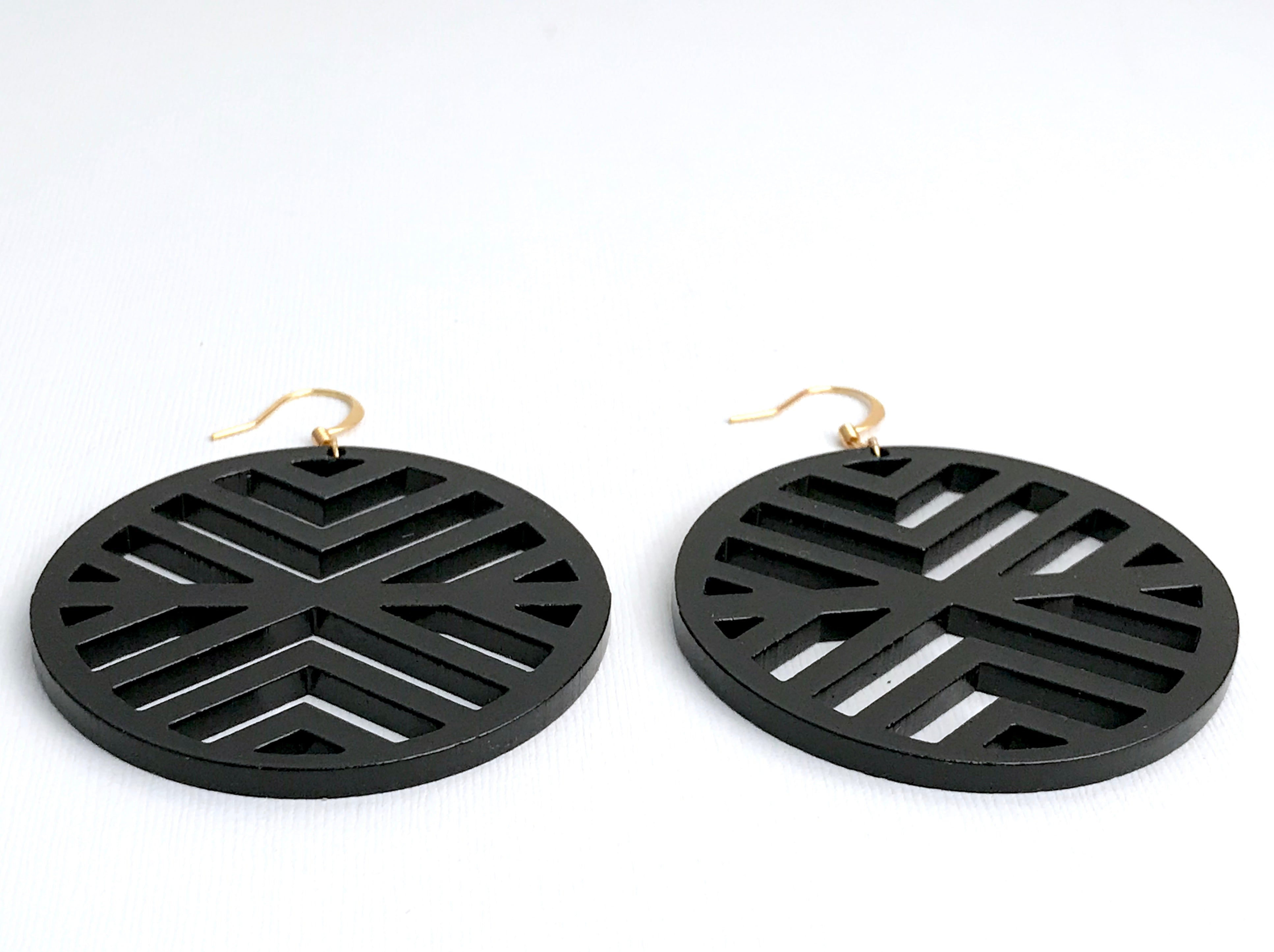 Black Acrylic Pattern Earrings