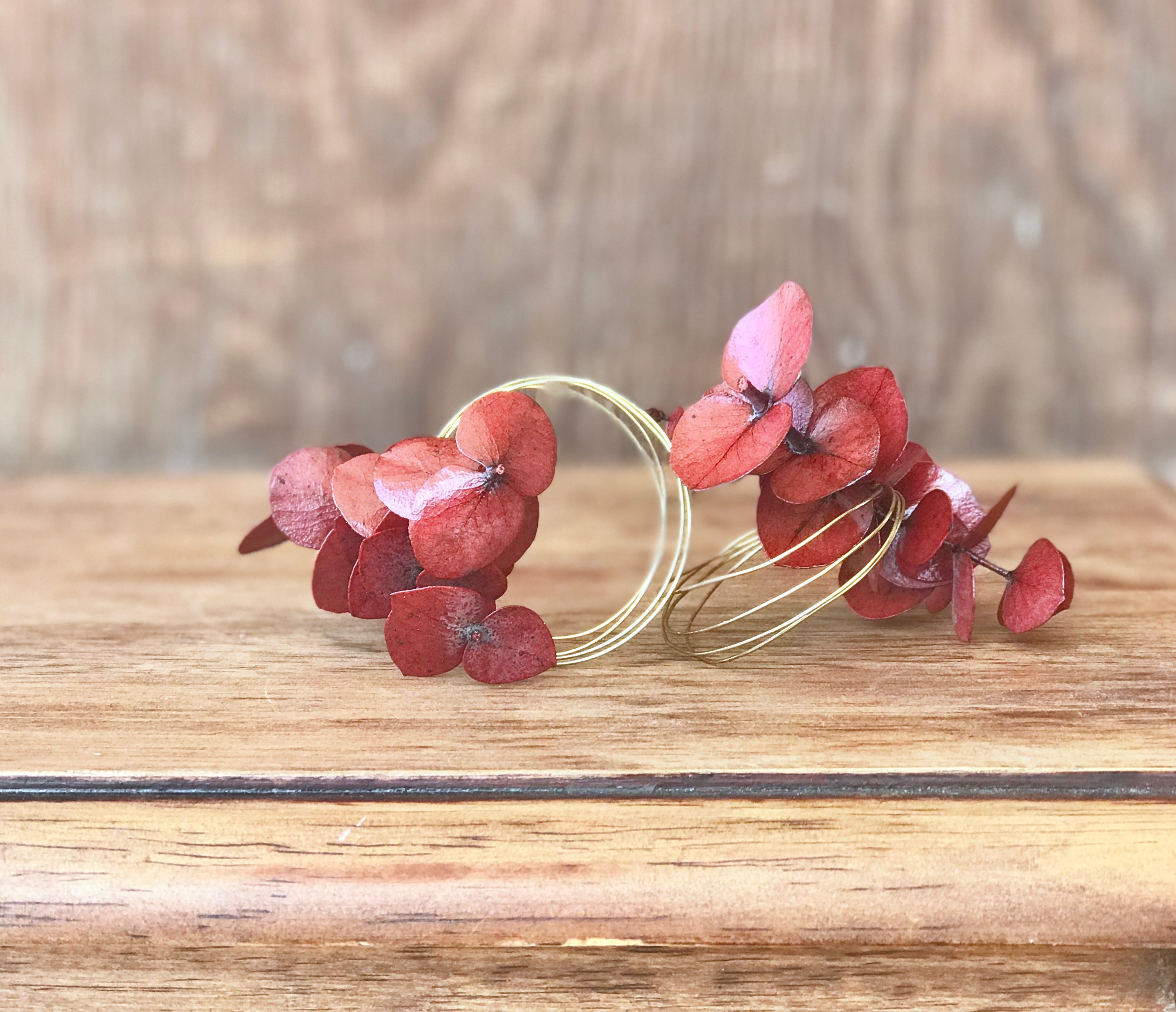 Handmade Eucalyptus Napkin Ring Set - Red