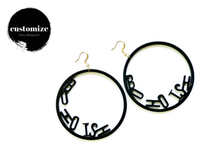 Word Hoop Earrings- Bohoish