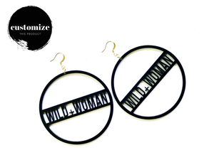 Word Hoop Earrings- Wild Woman