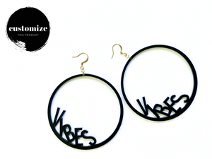 Word Hoop Earrings- Vibes
