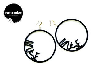 Word Hoop Earrings- Muse