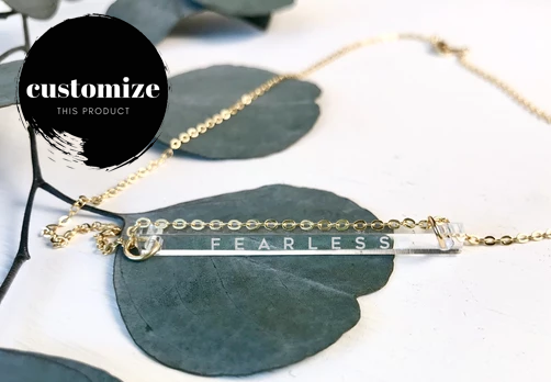 """Fearless"" Engraved Bar Necklace - Clear Acrylic"