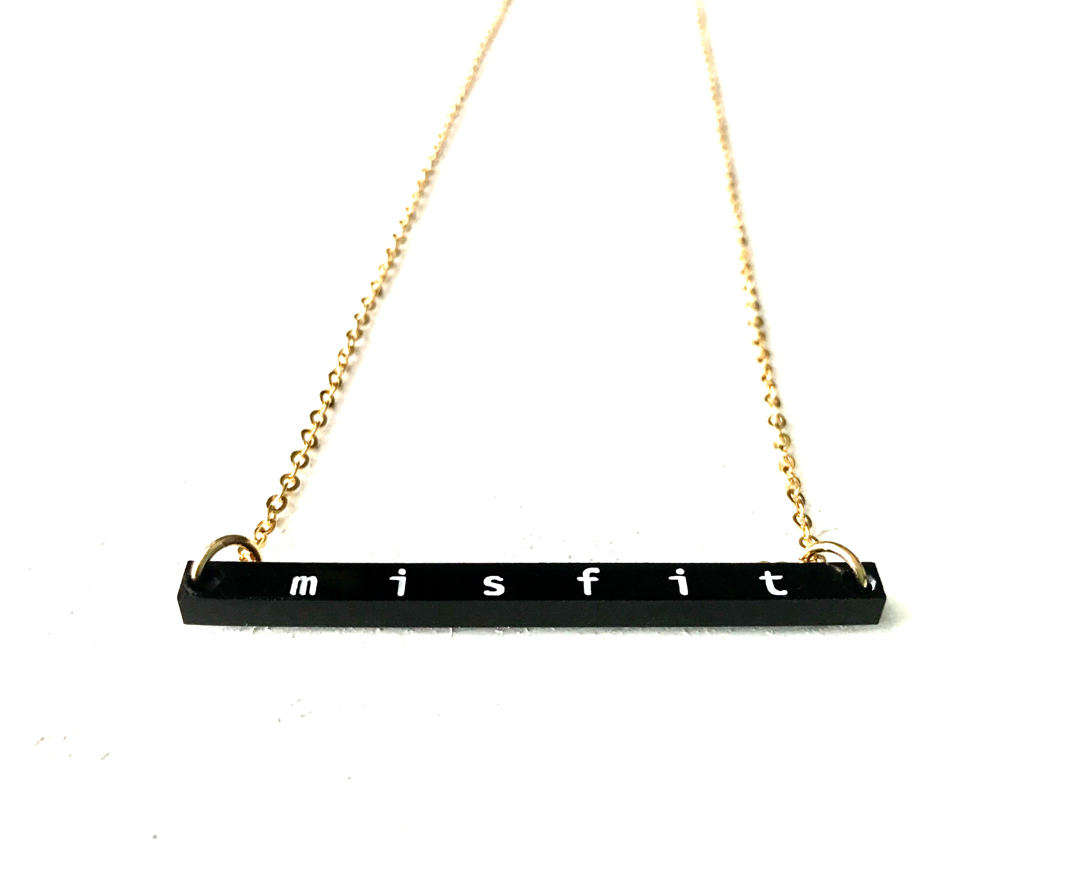 """Misfit"" Engraved Bar Necklace - Black Acrylic"