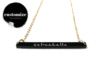 """Unbreakable"" Engraved Bar Necklace - Black Acrylic"