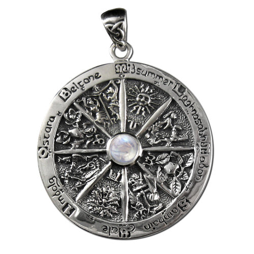 Sterling Silver Wheel of the Year Pendant with Rainbow Moonstone