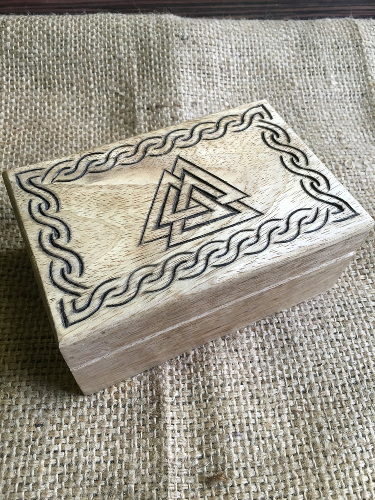 Carved Valknut Wooden Box