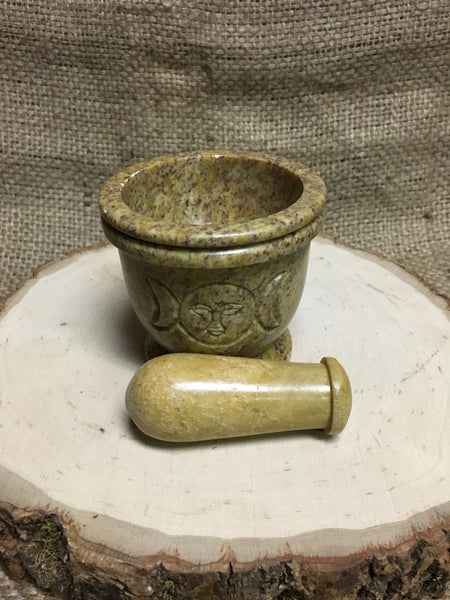 Triple Moon Soapstone Mortar & Pestle Set