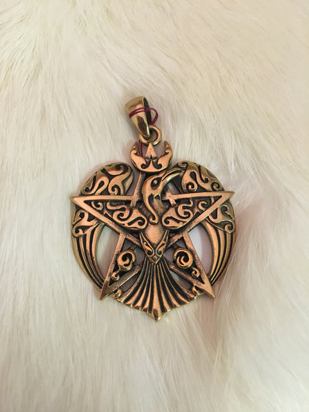 Large Raven Pentacle Pendant (Bronze)