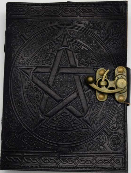 Black Goat Skin Journal with Pentacle