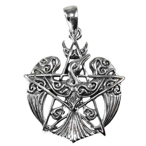 Small Morrigan Raven Pendant Pentacle (Sterling Silver)