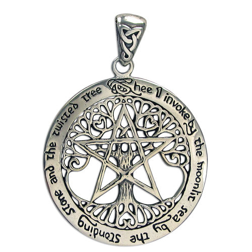 Sterling Silver Extra Large Cut Out Tree Pentacle Pendant