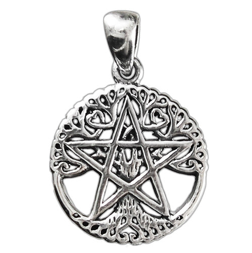 Small Sterling Silver Cut Out Tree Pentacle Pendant