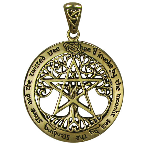 Bronze Extra Large Cut Out Tree Pentacle Pendant