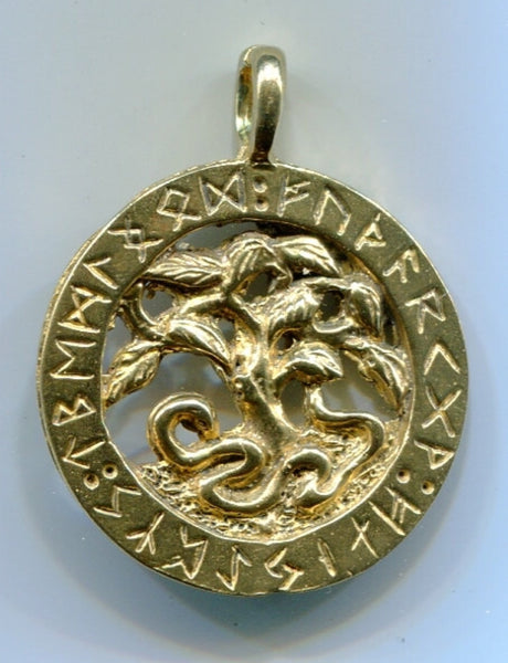Yggdrasil/World Tree with Runes Pendant (Bronze)