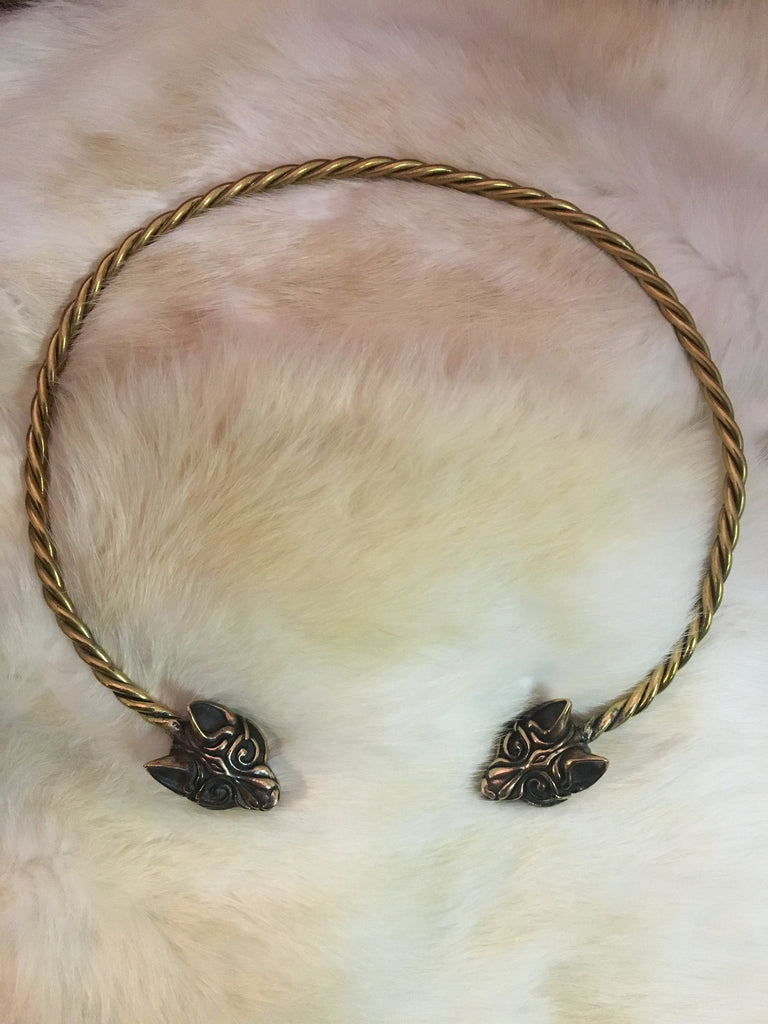 Bronze Wolf's Head Torc