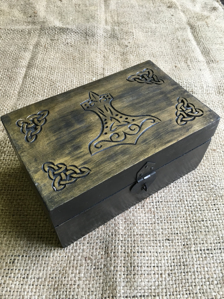 Carved Wooden Mjolnir (Thor's Hammer) Box