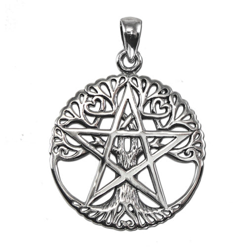 "1"" Sterling Silver Cut Out Tree Pentacle Pendant"