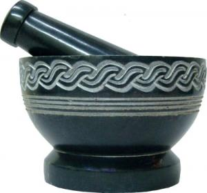 Celtic Knot Carved Soap Stone Mortar & Pestle