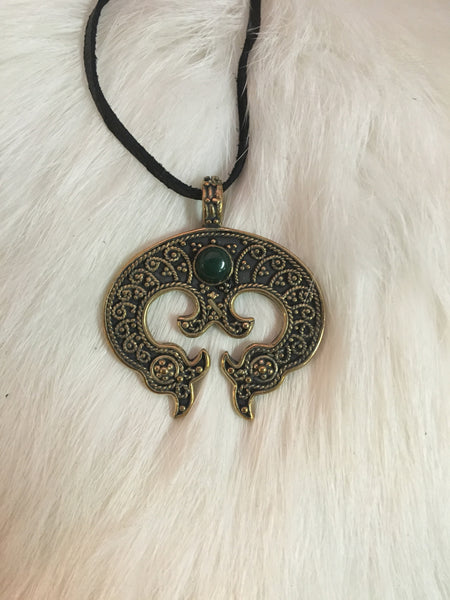 Bronze and Malachite Slavic Lunula Pendant
