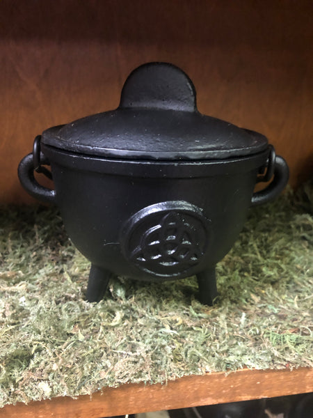"5"" Cast Iron Cauldron with Lid and Triquetra"