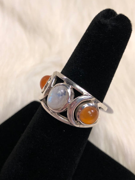 Sterling Silver Moonstone and Sunstone Ring