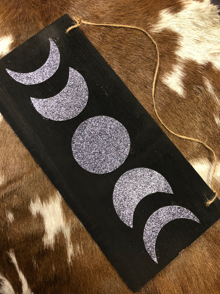 Moon Phase Wall Plaque - Black/Silver/Purple