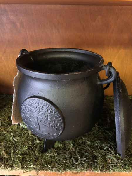 "Large 5"" x 5"" Cast Iron Cauldron with Lid and Yggdrasil"